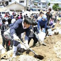 Classmates and friends search for Hiroshima student missing after landslide