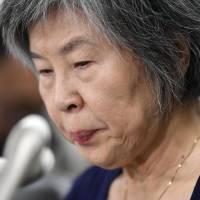 Shizue Takahashi, whose husband was killed in the 1995 sarin attack, speaks during a news conference on Friday in Tokyo. | KYODO