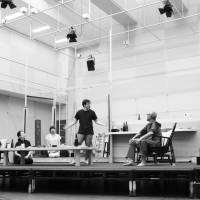 Curtain call: The cast of 'Morning Disappearance' rehearse ahead of the production's debut at the New National Theatre, Tokyo. The play will be Keiko Miyata's last one as artistic director for drama at the theater.