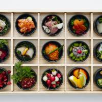 Akira Shimizu's sashimi assortment is served in a custom 'bento box' made by artisans in Japan. | JAPAN HOUSE