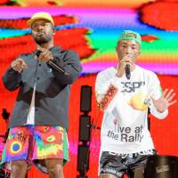 Nerd-gasm: Shay Haley (left) and Pharrell Williams' N.E.R.D. headline the Green Stage on Friday.   JAMES HADFIELD