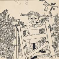 Original drawing for 'Pippi Goes Abroad' ('Pippi at the Gate'), illustration by Ingrid Vang Nyman (1945-46) | NATIONAL LIBRARY OF SWEDEN, STOCKHOLM / SWEDEN, ©THE ASTRID LINDGREN COMPANY. COURTESY OF THE NATIONAL LIBRARY OF SWEDEN, STOCKHOLM