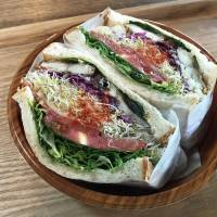 Well stuffed: The saba (mackerel) sandwich comes packed with fresh vegetables. | J.J. O'DONOGHUE