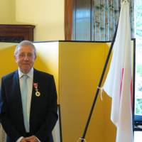 Flying Scotsman: Haiku poet Alan Spence is on a high after being awarded the Order of the Rising Sun in June by Daisuke Matsunaga, the Japanese consul general in Edinburgh. | COURTESY OF ALAN SPENCE