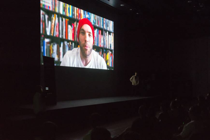 Thorp appears via video link at a screening of his