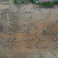 Chigasaki locals spell out 40th anniversary message for the Southern All Stars