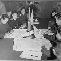 Colonel-level discussions between U.S. and North Korean military officials take place on Oct. 11, 1951,  in Panmunjom. | U.S. NATIONAL ARCHIVES AND RECORDS ADMINISTRATION
