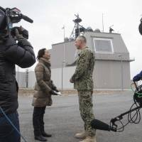 U.S. Navy Commander Mark Fegley  is interviewed at the Aegis Ashore Missile Defense System in Romania on Feb. 18. Japan plans to have two operational Aegis Ashore sites by 2023. | NAVY REGION EUROPE,AFRICA, SOUTHWEST ASIA