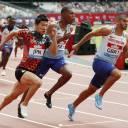 Yoshihide Kiryu (left) runs alongside Britain's Adam Gemili (right) during the men's 4x100-meter race at the IAAF Diamond League event in London on Sunday.