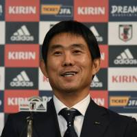 Newly appointed Japan national team manager Hajime Moriyasu speaks at a news conference on Thursday. | AFP-JIJI
