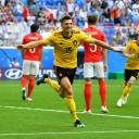Belgium's Thomas Meunier celebrates scoring the team's first of two goals in its 2-0 win over England to secure third place Saturday in the World Cup in St. Petersburg, Russia.