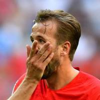 England's Harry Kane reacts during the team's game Saturday against Belgium for third place in the Worl Cup in St. Petersburg, Russia. Belgium won 2-0. | REUTERS