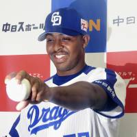 New Chunichi Dragons left-hander Joely Rodriguez attends an introductory news conference on Wednesday at Nagoya Dome.   KYODO
