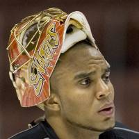 Former Ottawa Senators goaltender Ray Emery is seen in a June 2007 file photo during a team practice in Anaheim, California.