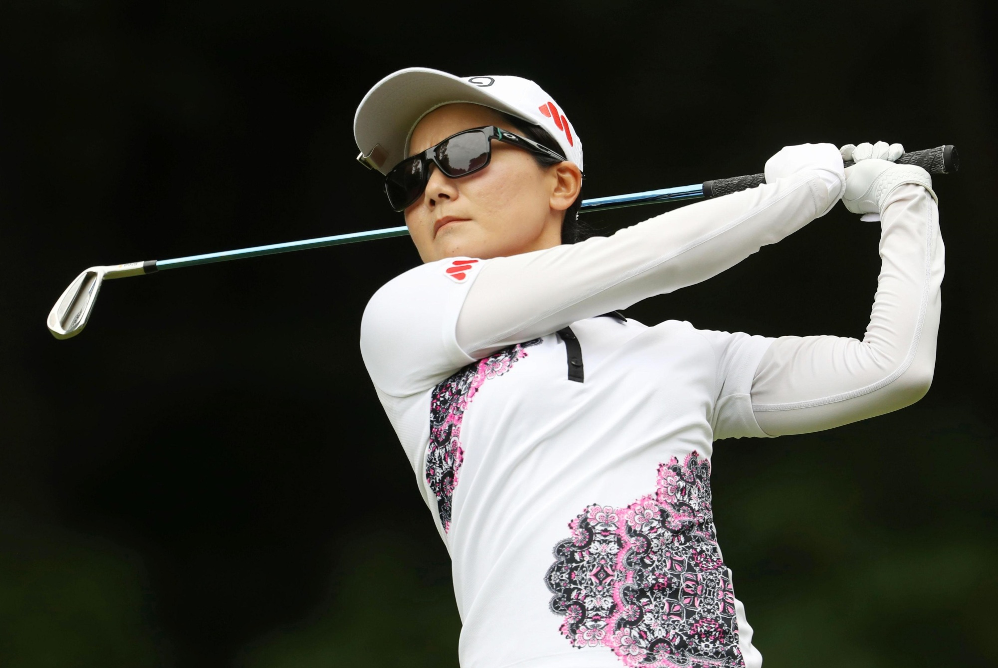 Ayako Uehara follows through on her shot in the first round of the Thornberry Creek LPGA Classic on Thursday in Oneida, Wisconsin. Uehara shot a 7-under 65.   KYODO
