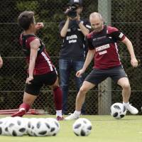 Andres Iniesta participates in his first training session with Vissel Kobe on Friday in Kobe. | KYODO