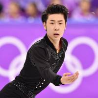 China's Jin Boyang, seen here competing in the short program at the Pyeongchang Olympics, is a two-time world bronze medalist. | AFP-JIJI