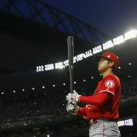 Shohei Ohtani stands in the on-deck circle during the ninth inning of Tuesday's game against the Mariners. | USA TODAY / VIA REUTERS