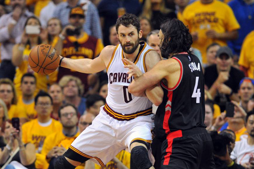 Cleveland Cavaliers forward Kevin Love is reportedly on the trading block after the team lost superstar LeBron James to the Los Angeles Lakers in free agency this week. | USA TODAY / REUTERS