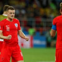 England's Jamie Vardy (left) suffered a groin strain against Colombia and his status is unclear for Saturday's quarterfinal against Sweden. | REUTERS