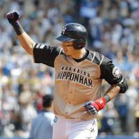 Hokkaido Nippon Ham Fighters outfielder Taishi Ota, who became a first-time All-Star on Tuesday, is sidelined with a fractured left hand. | KYODO