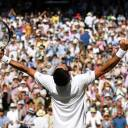 Serbia's Novak Djokovic celebrates winning the men's singles final against South Africa's Kevin Anderson in Wimbledon, London, Sunday.