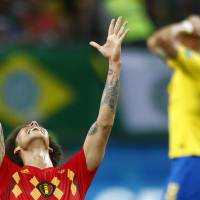 Belgium's Axel Witsel celebrates after the final whistle as Belgium defeat Brazil in their quarterfinal match between Brazil and Belgium at the 2018 soccer World Cup in the Kazan Arena, in Kazan, Russia, on Friday. Belgium won the game 2-1. | AP