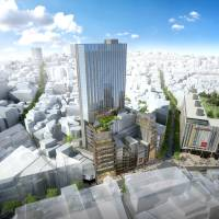An artist rendering shows discount retailer Don Quijote Holdings Co. Ltd.'s planned high-rise complex, scheduled to open in Tokyo's Shibuya district in 2022. | DON QUIJOTE HOLDINGS CO.