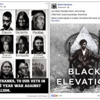 This combination of images provided by Facebook shows examples from suspicious accounts the social networking site discovered on its platform that it says are possibly linked to Russia with the intention of influencing U.S. politics. | COURTESY OF FACEBOOK / VIA AP