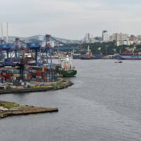 The Venta Maersk is seen in the Russian port of Vladivostok on Wednesday as it prepares to set off on its Arctic voyage. | REUTERS