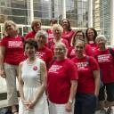 Members of the Washington Chapter of Moms Demand Action pose for a photo outside the federal courthouse in Seattle Tuesday after attending a hearing to support the issuance of an injunction to block the online release of plans for printing 3D guns. A federal judge hearing arguments over whether the Trump administration should be allowed to maintain a settlement with a company that wants to post online plans for printing 3D guns said Tuesday that the issue should be decided by the president or Congress.