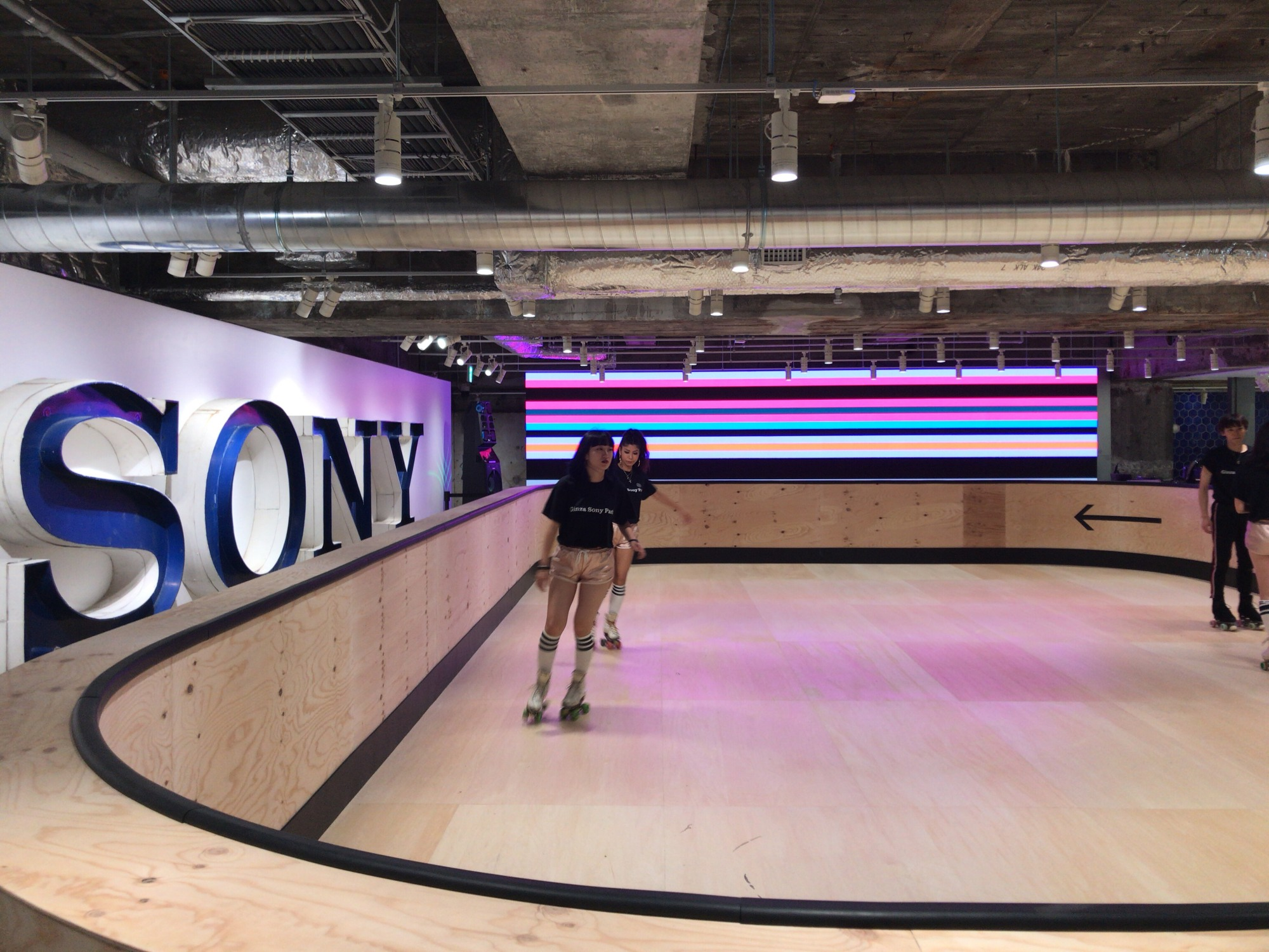 People try the roller skating rink at Ginza Sony Park in Tokyo during a media preview of the facility on Wednesday.   KAZUAKI NAGATA