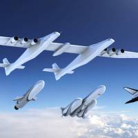 A new family of launch vehicles including air-launch system, medium-lift rockets and a reusable space cargo plane, are seen in this artist's rendering image released by Stratolaunch Systems Corp., the space company of billionaire Microsoft co-founder Paul Allen, based in Seattle, Washington, on Monday. | COURTESY STRATOLAUNCH / HANDOUT / VIA REUTERS