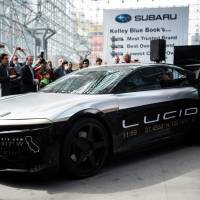 The Lucid Motors Inc. Alpha Speed Car is unveiled in Ohio on Thursday, April 13, 2017. Tesla rival Lucid Motors Inc. is said to be in talks to receive investment from PIF, the Saudi Arabian sovereign wealth fund. | BLOOMBERG