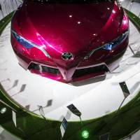 A Toyota Motor Corp. NS4 plug-in hybrid concept vehicle is displayed in November 2015 during the China International Automobile Exhibition in Guangzhou, China. Toyota plans to triple car production in China by as soon as 2030. | BLOOMBERG
