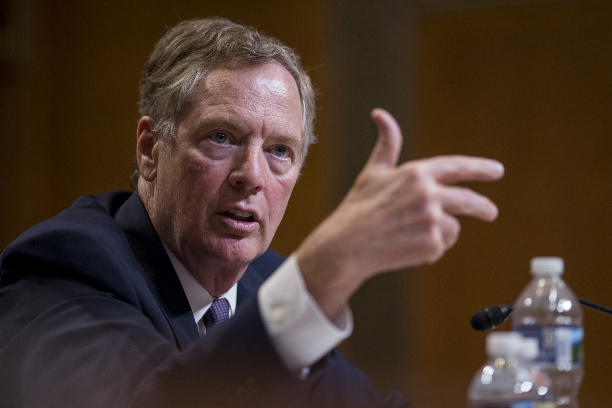 Robert Lighthizer, the U.S. trade representative, is likely to press Toshimitsu Motegi, Japan's economic revitalization minister, to reduce Japanese tariffs on agricultural imports during their talks in Washington on Thursday.   BLOOMBERG