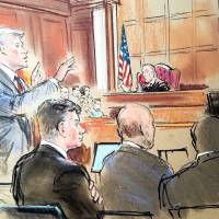 Accountant Cynthia Laporta (right) is shown in a courtroom sketch during testimony as the prosecutor Greg Andres (second, left), gestures on the fifth day of trial of U.S. President Donald Trump's former campaign chairman, Paul Manafort (front, lleft), on bank and tax fraud charges stemming from special counsel Robert Mueller's investigation into Russian meddling in the 2016 U.S. presidential election, in federal court in Alexandria, Virginia, Monday. | BILL HENNESSY / VIA REUTERS