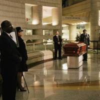 Rosa Parks coffin lies in the Charles H. Wright Museum of African American History in Detroit in 2005. Aretha Franklin will lie at the museum for two days before her funeral will be held at Greater Grace Temple in Detroit. Franklin died Aug. 16 of pancreatic cancer at the age of 76. | SUSAN TUSA / DETROIT FREE PRESS / VIA AP