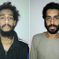 This combination of pictures created in February from two handout images provided by the Syrian Democratic Forces (SDF) shows captured British Islamic State (IS) group fighters El Shafee el-Sheikh (left) and Alexanda Kotey, posing for mugshots in an undisclosed location. The administration of U.S. President Donald Trump is considering sending some captured Islamic State fighters, including the two 'Beatles,' British citizens who took part in beheadings, to the military-run prison in Guantanamo, Cuba, NBC reported on Friday. | SYRIAN DEMOCRATIC FORCES / VIA AFP-JIJI