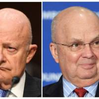 This combination of file photographs created Wednesday shows (from left) former CIA Director John Brennan, ex-FBI Director James Comey, former Director of National Intelligence James Clapper, Gen. Michael Hayden, former acting Attorney General Sally Yates, and former US National Security Adviser Susan Rice. | AFP-JIJI
