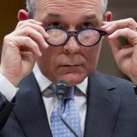 Then-Environmental Protection Agency Administrator Scott Pruitt appears before a Senate subcommittee on May 16. | AP