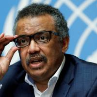 Director-General of the World Health Organization (WHO) Tedros Adhanom Ghebreyesus attends a news conference after an Emergency Committee meeting on the Ebola outbreak in the Democratic Republic of Congo at the United Nations in Geneva Tuesday. | REUTERS