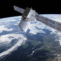 The photo provided by European Space Agency shows an artists rendering of ESA's Aeolus satellite, which will provide timely and accurate profiles of the world's winds and further information on aerosols and clouds. | ESA / VIA AP