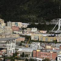 The collapsed Morandi highway bridge in Genoa is pictured on Friday. | AP