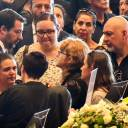 Italian Interior Minister Matteo Salvini (left) meets relatives of the victims of the collapsed Morandi highway bridge ahead of a funeral service in Genoa on Saturday.