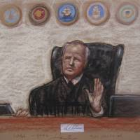 This 2014 image shows a Pentagon-approved sketch by court artist Janet Hamlin, of Judge, Army Col. James Pohl as he halts the Sept. 11 pretrial hearing at the Guantanamo Bay U.S. Naval Base in Cuba. | JANET HAMLIN / VIA AP