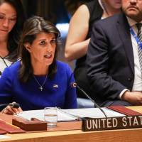 United States Ambassador to the U.N. Nikki Haley speaks during a United Nations Security Council meeting on the situation in Myanmar at U.N. Headquarters in New York on Tuesday. | DOMINICK REUTER / VIA AFP-JIJI