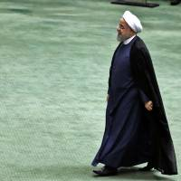 President Hassan Rouhani arrives at the Iranian Parliament in Tehran on Tuesday.   AFP-JIJI