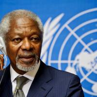 Then-Arab League Special Envoy for Syria Kofi Annan listens to questions from reporters during a news conference at the United Nations Office in Geneva in June 2012. The former U.N. chief and Nobel Peace Prize laureate died Saturday, at the age of 80, triggering a flood of tributes from around the world. | AFP-JIJI