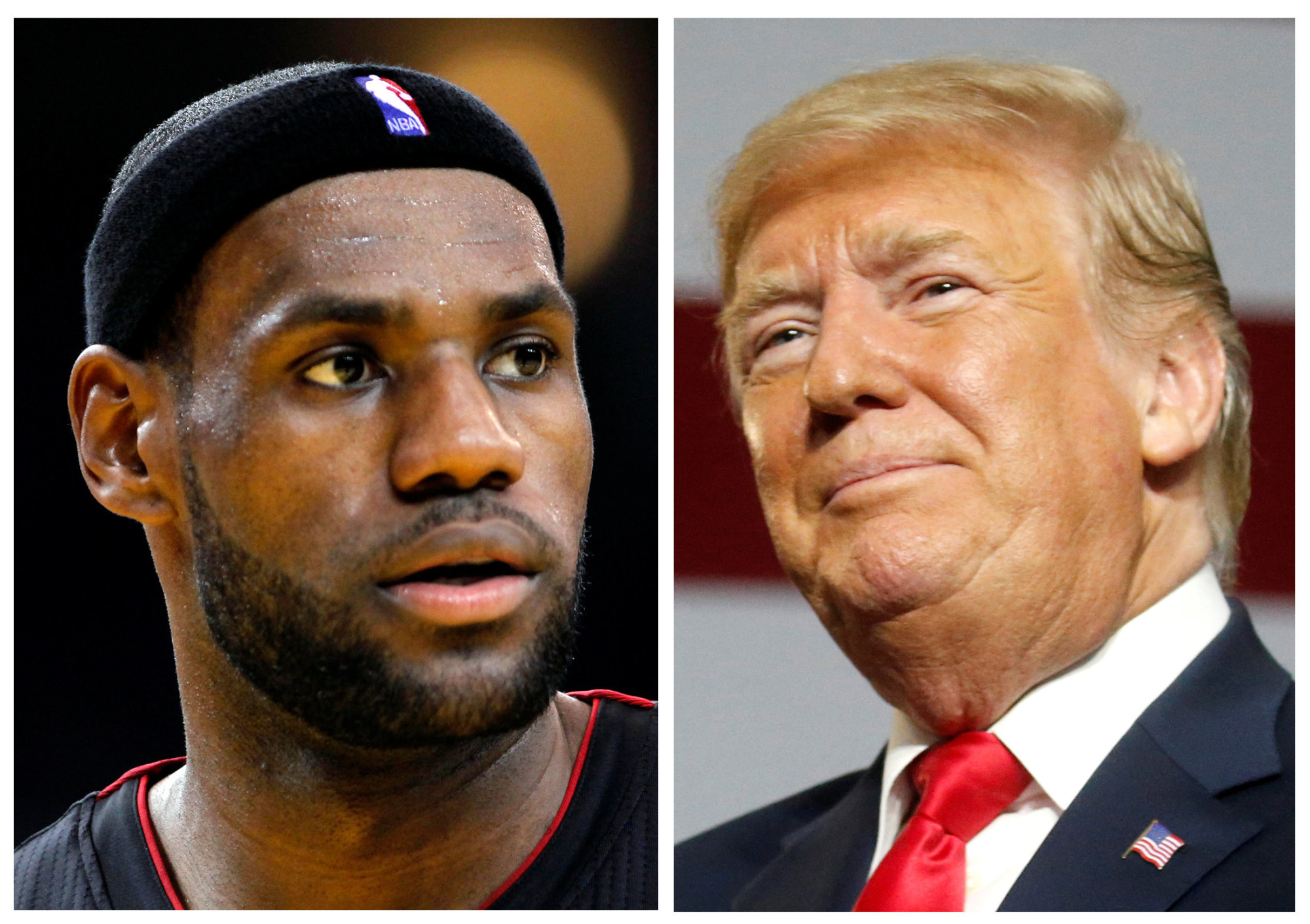 NBA basketball player LeBron James (left) is seen in Oakland, California, in 2013 and U.S. President Donald Trump in Lewis Center, Ohio, Saturday. | REUTERS